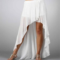 White Hi Low Hem Wrap Skirt