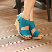 Wholesale Feet to show thin western hot style sexy wedge sandals Z-BD-C11 blue - Lovely Fashion