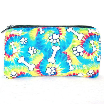 "Tie Dye Paw Prints & Dog Bones Cotton Padded Pipe Pouch 5.5"" / Glass Pipe Case / Spoon Cozy / Piece Protector / Pipe Bag / SMALL"