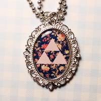 Legend of Zelda Triforce Floral Cameo Video Game Necklace