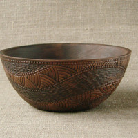 Hand Made Ceramic Eco-Friendly  Bowl Hand Carved