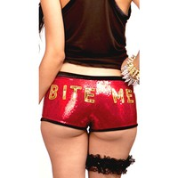 "Women's ""Bite Me!"" Sequin Boyshorts by Marialia"