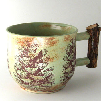 Pine Cone Mug with Ponderosa Pine Handle - 10 oz - Hand Thrown Stoneware