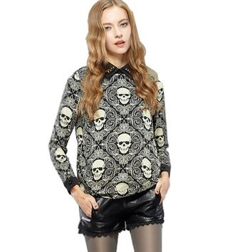 Women Retro Skull Printing Lapel With Rivets Blouse