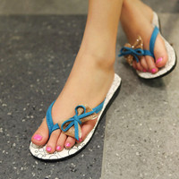 Wholesale Fashion leisure comfortable bowknot joker flats Z-HSX610 blue - Lovely Fashion