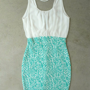 Green Lace & Floral Dress [5630] - $34.00 : Vintage Inspired Clothing & Affordable Dresses, deloom | Modern. Vintage. Crafted.