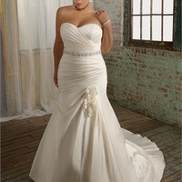 Mermaid Beaded Satin Plus Size Wedding Dress WDPS002 - cheap price 2012 online shop for sale.