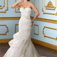 A Line Beaded Sweetheart Neckline Organza 2012 Spring Fashion Wedding Dresses BDSW0061 - cheap price 2012 online shop for sale.