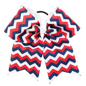Large Red, White & Navy Chevron Hair Bow