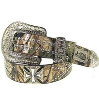 Western Montana West Camo Rhinestone Maltese Cross Genuine Leather Biker Belt
