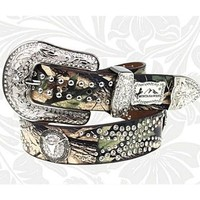 Western Montana West Camo Steer Head Longhorn Rhinestone Leather Belt