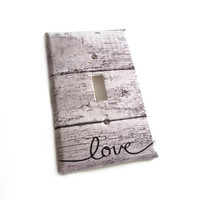 Rustic Wood Switchplate Cover - Love - Home Decor -