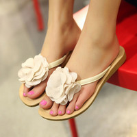 Wholesale Fashion sweet big flower clip toe sandals Z-HSX-8 rice - Lovely Fashion