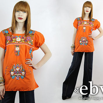 Vintage 70s Orange Mexican Embroidered Tunic Hippie Top Mexican Top Mexican Blouse Embroidered Top Mexican Dress Hippy Top Festival Top