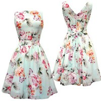 Cool Mint Floral Tea Dress