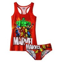 Juniors Marvel Comics Tank and Panty Set - Red
