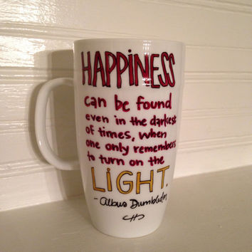 Harry Potter Albus Dumbledor Happiness Quote 18 oz Stoneware Coffee Mug, Coffee Cup