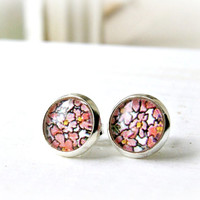 pink posies 10mm upcycled photo glass cabochon post earrings, silver plated, faux plugs, fake plugs, stud,
