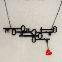 Skeleton Keys to my Heart Necklace Black Acrylic by CABfayre