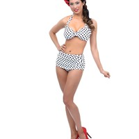 1950s Style White Polka Dot Two Piece Swimsuit