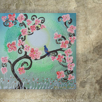 Emerald green Painting pink Flowers of Cherry Blossom SAKURA Landscape Tree of life Enchanted Forest KSAVERA Floral Art sunset decor