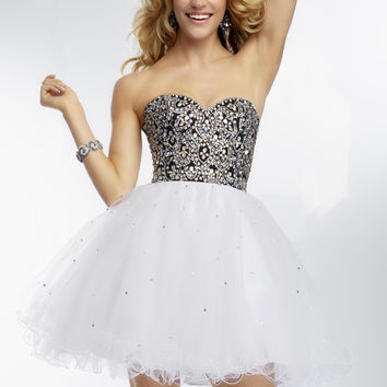 Mori Lee 9265 - Black/White Strapless Beaded Prom Dresses Online