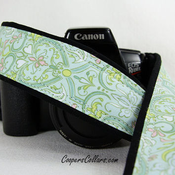 dSLR Camera Strap, Heart Damask, Aqua, Teal, Yellow, White,  SLR, 171