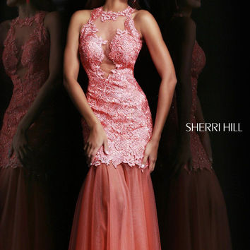 Sherri Hill 9711 - Coral Lace Open Back Prom Dresses Online
