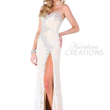 Karishma 3704 - Nude/White Strapless Beaded Lace Prom Dresses Online