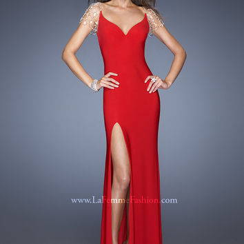 La Femme 20025 - Red V-Neck Sheer Back Jersey Prom Dresses Online