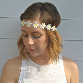 Daisy Flowers Crown Hippie Summer Music Festival Concert Boho Daisy Headband