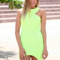Neon Yellow Open Back Dress
