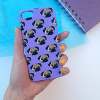 Retro Pug Lilac Phone Case iPhone 3 3GS 4 4S 5 5S 5C Samsung Galaxy S2 S3 S4 Mini S5 Sony Xperia Z Blackberry Z10 Curve Bold HTC One