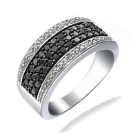 3/4 CT Black & White Diamond Ring In Size 5 (Available In Sizes 5 - 10)