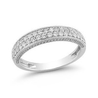 10k White Gold Diamond Ring (1/4 cttw I-J Color, I2-I3 Clarity), Size 8