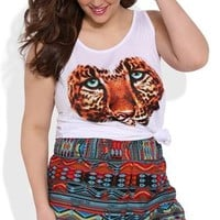 Plus Size Tribal Print Woven Short with Wide Elastic Waistband