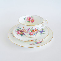 Antique Floral Tea Cup Saucer Plate Trio George Jones and Sons CRESCENT CHINA