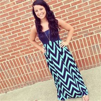 Chevron Maxi Dress- Navy and Mint