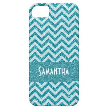 Glitter Sparkle and Shine Aqua Chevron Name Case