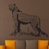 Safari leopard wall decal, wall sticker, decal, wall graphic , living room decal, vinyl decal in black, vinyl graphic wall decal, graphic