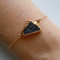 Druzy Bracelet in Black by 443Jewelry on Etsy