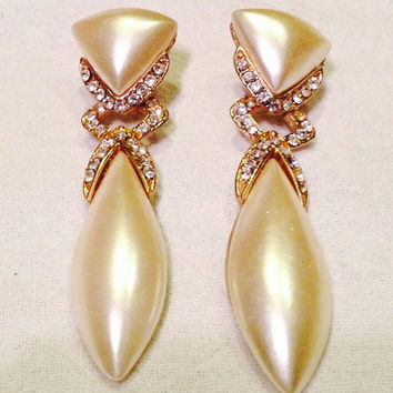 Vintage Pearl And Rhinestone Dangle Earrings 1980s Costume Jewelry Bride Wedding Party