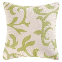 Serendipity Green Quilted Throw Pillow