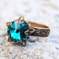 Vintage Teal Swarovski Crystal Ring Victorian Stargazer Vintage Teal Antique Brass Adjustable Ring Mashugana