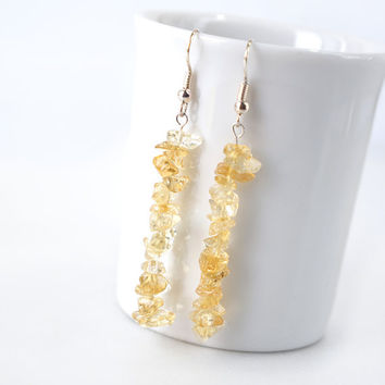Citrine Chips Long Drop Earrings, Genuine Yellow Citrine Gemstone Dangle Earrings, Bridesmaids Jewelry
