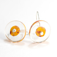 Red Yellow Glass Bead Earrings Handmade Lampwork by susansheehan