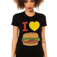 The I Heart Cheeseburger Tee in Black