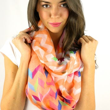 Ombre Multi Colored Chevron Print Infinity Scarf - Navy, Coral, Mint or Fuchsia