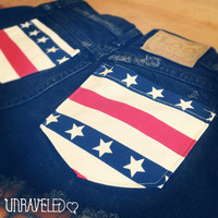 High Waisted Shorts America Flag Style 4th by UnraveledClothing
