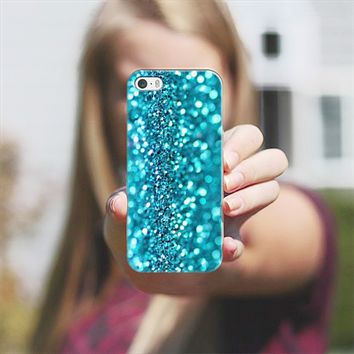 turquoise glitter iPhone 5s case by Sylvia Cook | Casetify